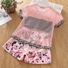 Humor Bear Girls Clothing Set Summer New Child Short Sleeve Letters T-shirt+ Flowers Shorts Kids Suit Toddler Baby Girls Clothes sodawn 2017 brother sister clothes summer new children clothse boysgirls lattice short sleeve shorts suit boy girls clothing set