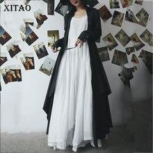 XITAO размера плюс с открытыми плечами Макси платье для женщин О образным вырезом Спагетти ремень без рукавов Нерегулярные дикий свитер Joker плиссированные WLD1866