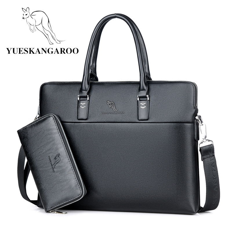 YUESKANGAROO Men Leather Bag Business Briefcase Brand Crossbody Shoulder Bags High Quality Mens Handbag Male Travel Laptop Tote