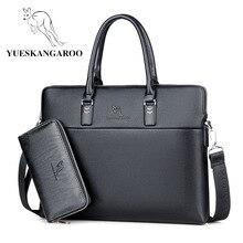 YUESKANGAROO Men Leather Bag Business Briefcase Brand Crossbody Shoulder Bags Hi