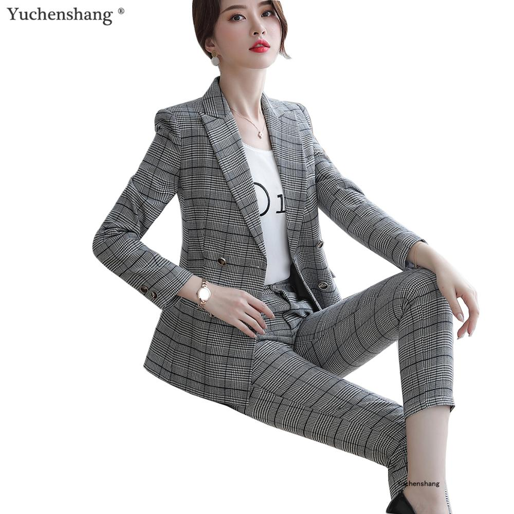 High Quality Women Pant Suit Soft Thick Fabric Two Pieces Set For Winter S-5XL Brown Plaid Jacket Blazer With Plaid Trouser Sets