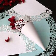 Confeti blanco para boda, pétalos de papel de encaje diverso, color caramelo, cono de confeti blanco Natural para decoración para fiesta de boda, 20 Uds.