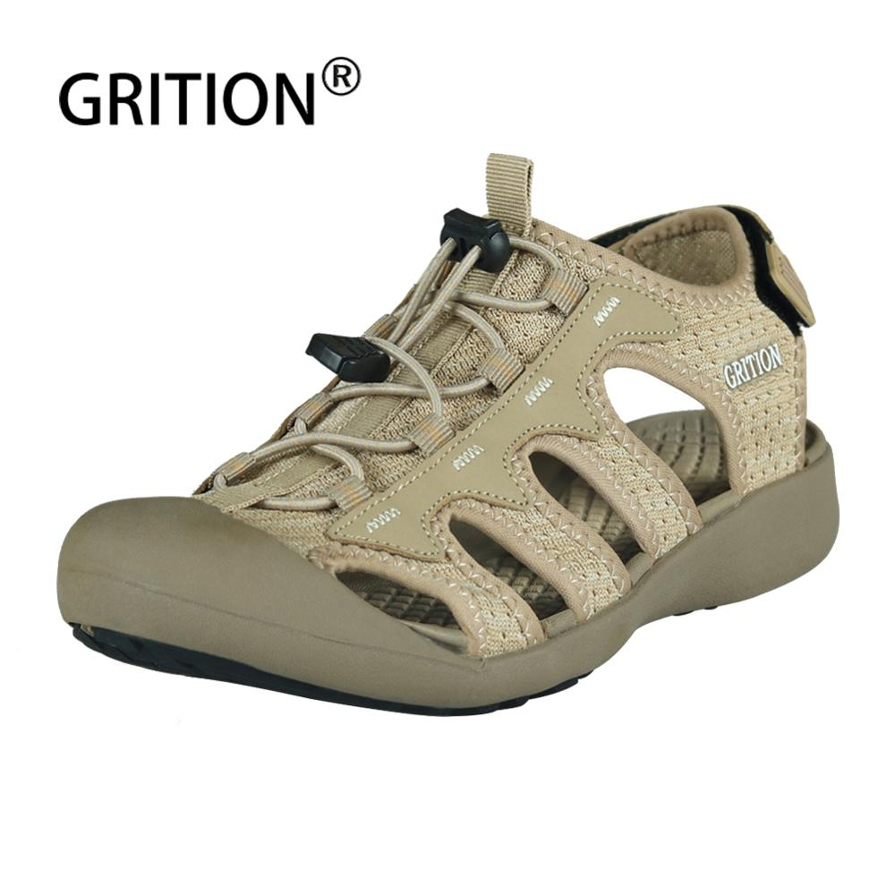 GRITION Women Sandals Flat Ladies Breathable Outdoor Shoes Non-slip Female Summer Platform Soft Sole Sport Sandals Plus Szie 41