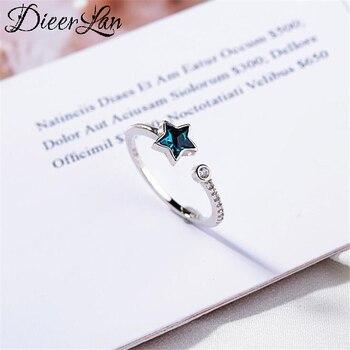 Личность Boho 925 кольцо из стерлингового серебра с голубым звезда кольца для женщин ювелирные изделия в стиле ретро большой антикварные кольца для девочек; Рождественские подарки;