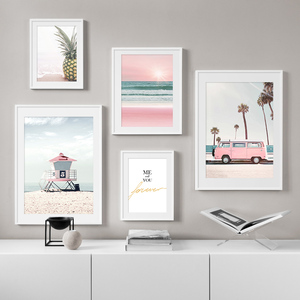 Pink car coast pineapple Coconut quote Wall Art Canvas Painting Nordic Posters And Prints Wall Pictures For Living Room Decor