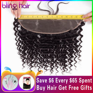 Lace-Frontal Closure Human-Hair Natural 100%Remy-Brazilian Black-Color with Bling 13--4