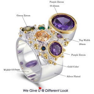 Image 2 - DreamCarnival 1989 New Arrive Colorful Feminine Zircon Ring for Women Big Purple Stone Gothic Wedding Engagement Jewelry WA11704