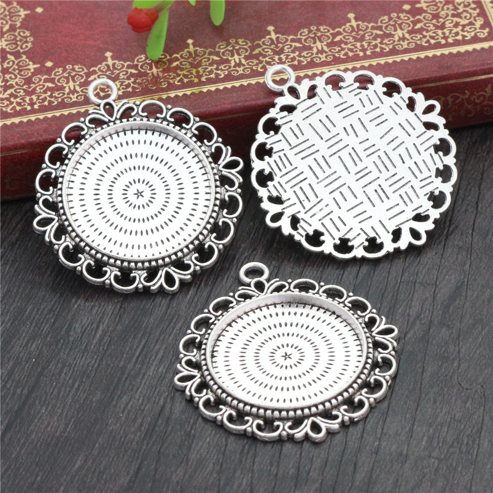 New Fashion  3pcs 25mm Inner Size Antique Silver Plated Pierced Style Cabochon Base Setting Charms Pendant (A3-44)