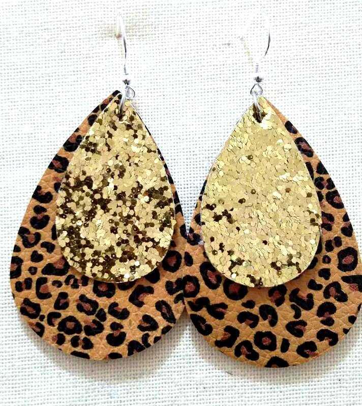 二重層グリッターゴールドヒョウ柄の革ティアドロップイヤリング動物プリント大葉イヤリングバレンタインデーのギフト