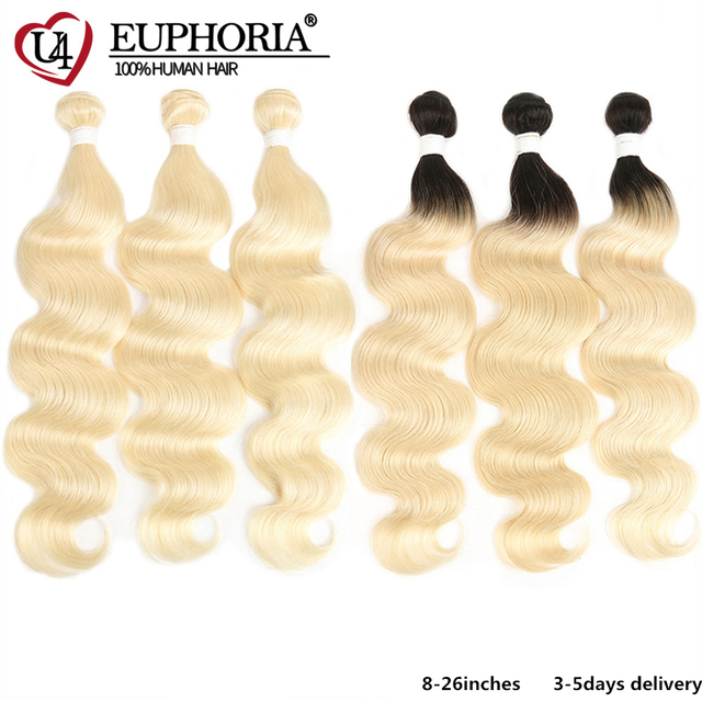 Platinum Blonde 613 Bundles Brazilian Body Wave 100% Remy Human Hair Bundles 8 26inch Ombre Blonde Bundle Hair Weaving Euphoria
