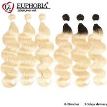 Platinum Blonde 613 zestawy brazylijski ciało fala 100% Remy ludzki włos wiązki 8 26 cal Ombre blond pakiet włosów tkania Euphoria