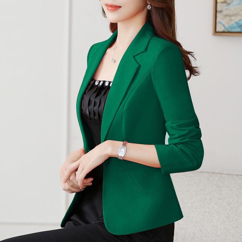 2020 Fashion Spring Autumn Blazers Jackets Women Long Sleeve One Button Female Blazer Yellow Red White Coat Outerwear Green