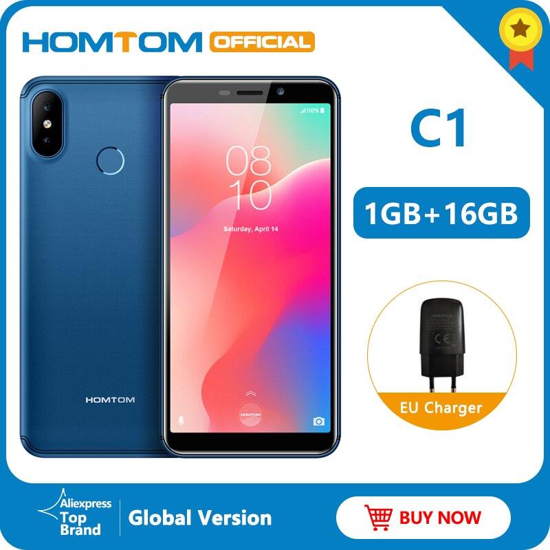 Global Version HOMTOM C1 16G ROM 5.5Inch Mobile Phone 13MP Camera Fingerprint 18:9 Display Android 8.1 MT6580A Unlock Smartphone