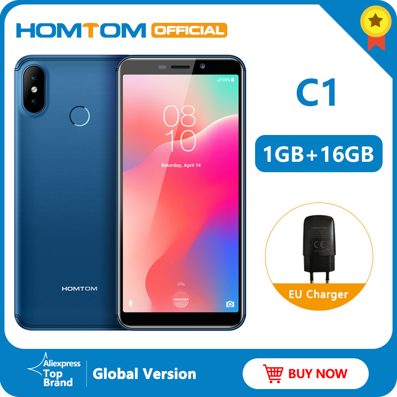 Globale Version HOMTOM C1 16G ROM 5,5 Inch Handy 13MP Kamera <font><b>Fingerprint</b></font> 18:9 <font><b>Display</b></font> Android 8.1 MT6580A Entsperren Smartphone image