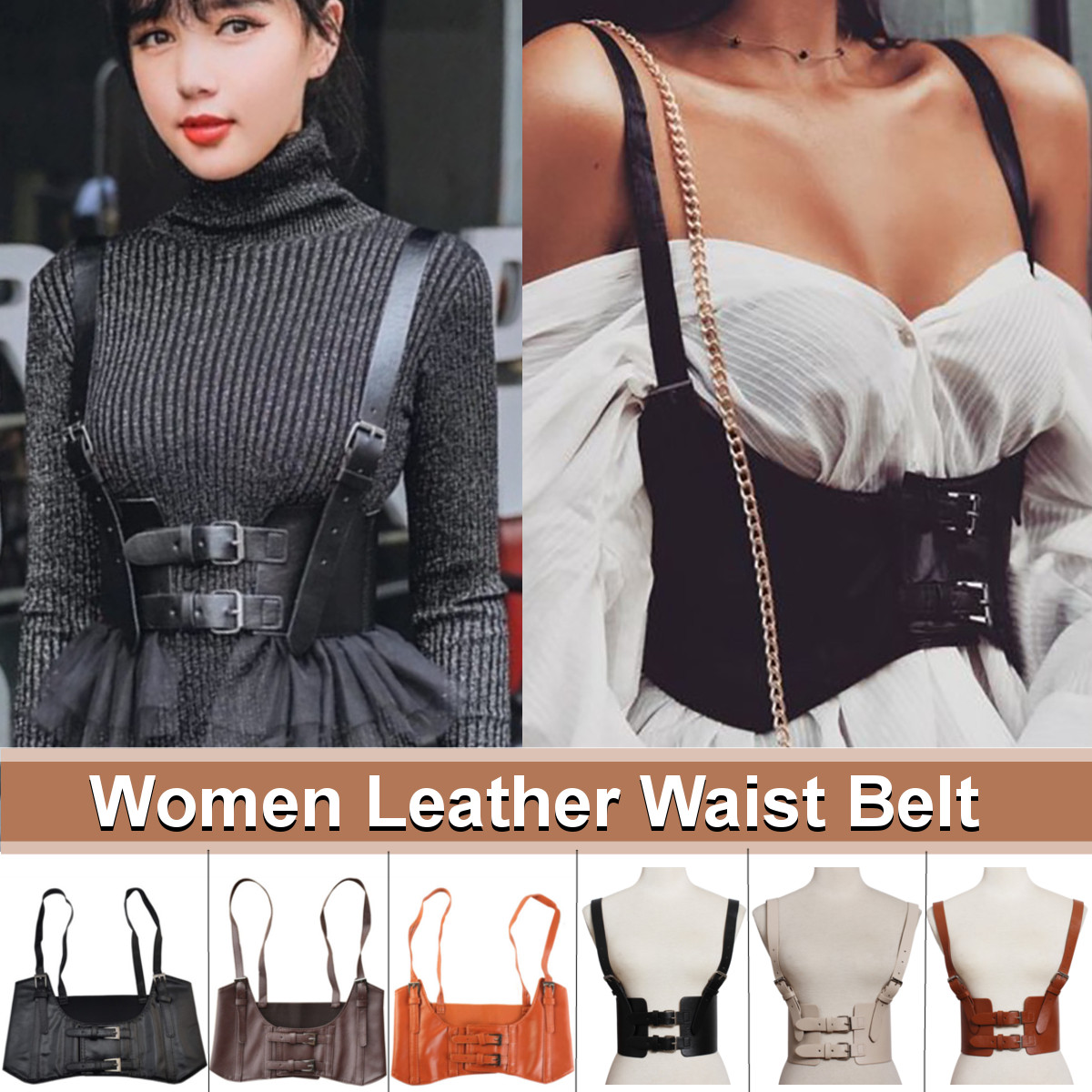 Brand New Arrival Vintage Women's Corset Vest Steampunk Harness Stretchy Waistcoat Wide Cincher With Buckle Cummerbunds 2020