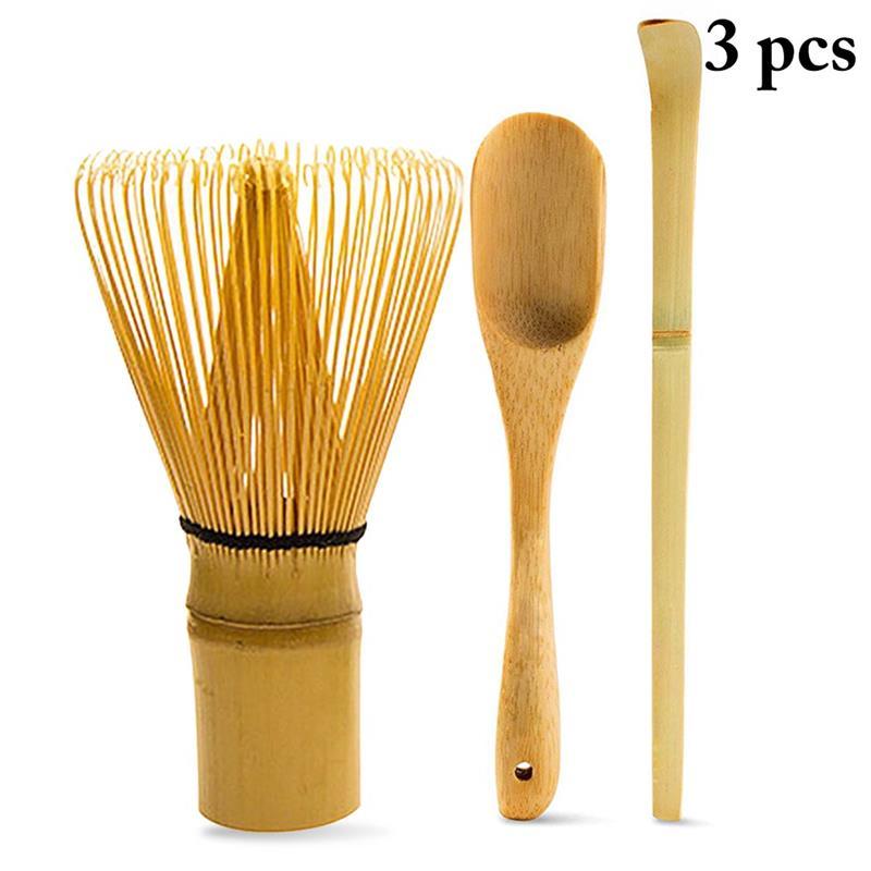 3PCS Japanese Tea Set Includes Matcha Bamboo Whisk Traditional Scoop & Tea Spoon