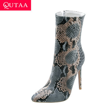 QUTAA 2020 Sexy Snakeskin Thin Super High Heel Zipper Women Shoes Pointed Toe Printing Leather Fashion Mid Calf Boots Size 34-43