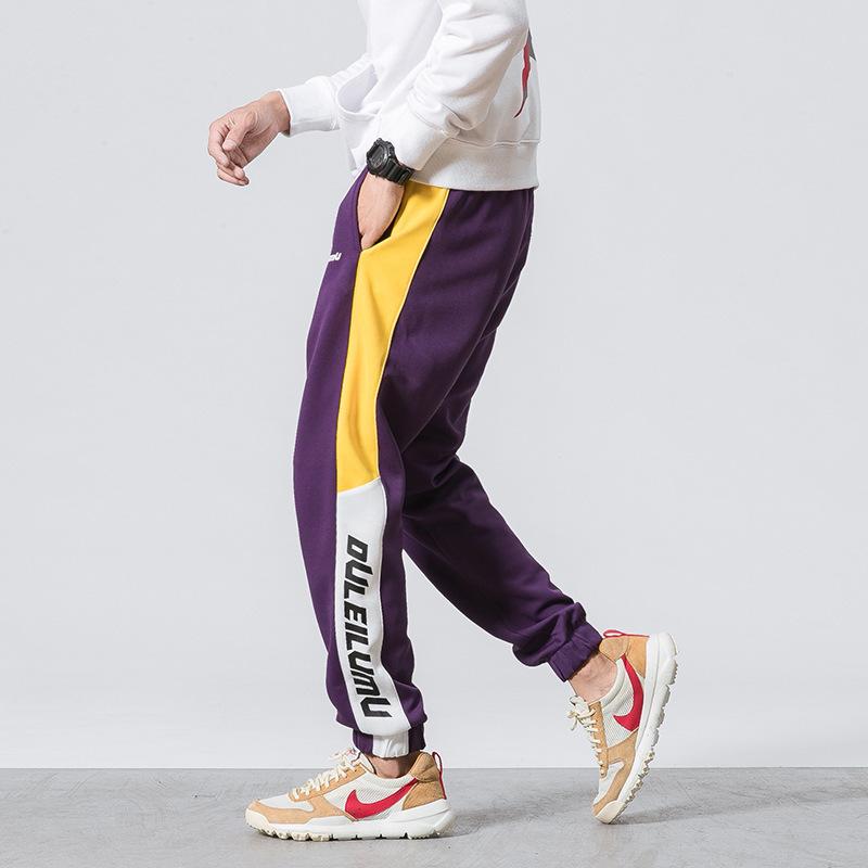 2018 Spring And Autumn New Style Side Edge Contrast Color Printed Letter Casual Pants Ankle Banded Pants Men's Fashion Youth Tro