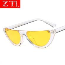 ZT Women Cat Eye Sunglasses Half Frame Brand Designer Punk Ladies Pink Tint/Clear Lens Shades