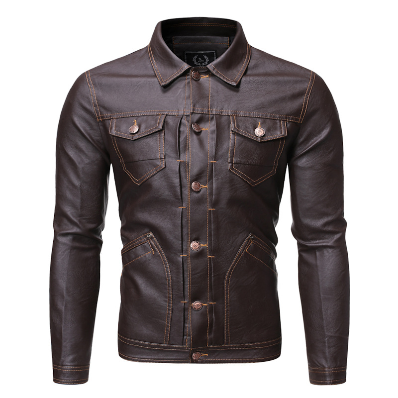 Hot Selling Youth Men Fold-down Collar Slim Fit Leather Jacket Top Grade Washing PU Leather Coat