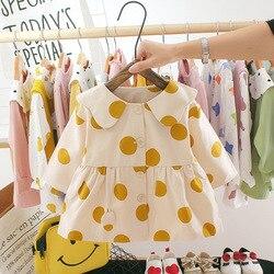 Primavera verão vestido de bebê moda meninas do bebê roupas de manga longa infantil vestido polka dot da criança meninas princesa tutu vestidos