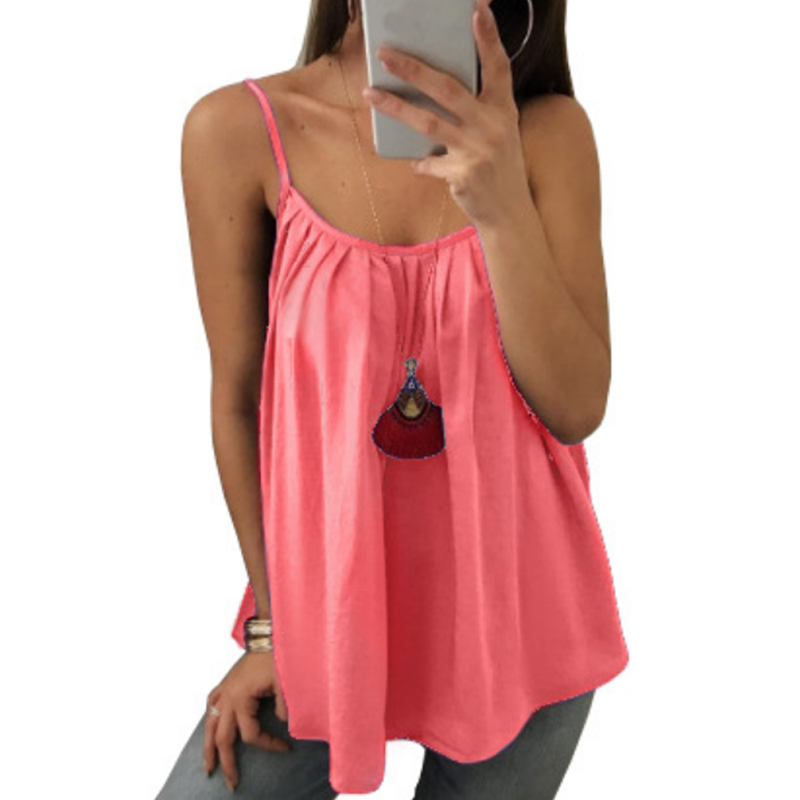 Sexy Loose Pleated Camisole Women 2020 Summer New Fashion Pure Color Streetwear Sleeveless Halter T-Shirt Big Size 6XL Tank Tops(China)