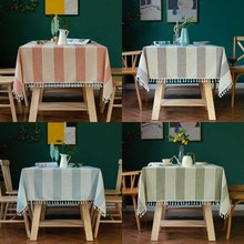 Nordic Tassel Striped Linen Tablecloth Decorative Home Garden Wedding knitting Pendant Lace Rectangular Tea Table Cloth Cover