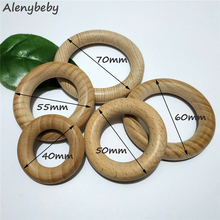 20pcs Nature Beech Wooden Ring Teether 40-70mm Wood circle Baby Infants Teething