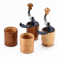 Manual Wooden Coffee Grinder Maker Bean Grinder Cast Iron Burrs Hand Crank Beans Spices Nuts Seeds Coffee Mill Kitchen Tool