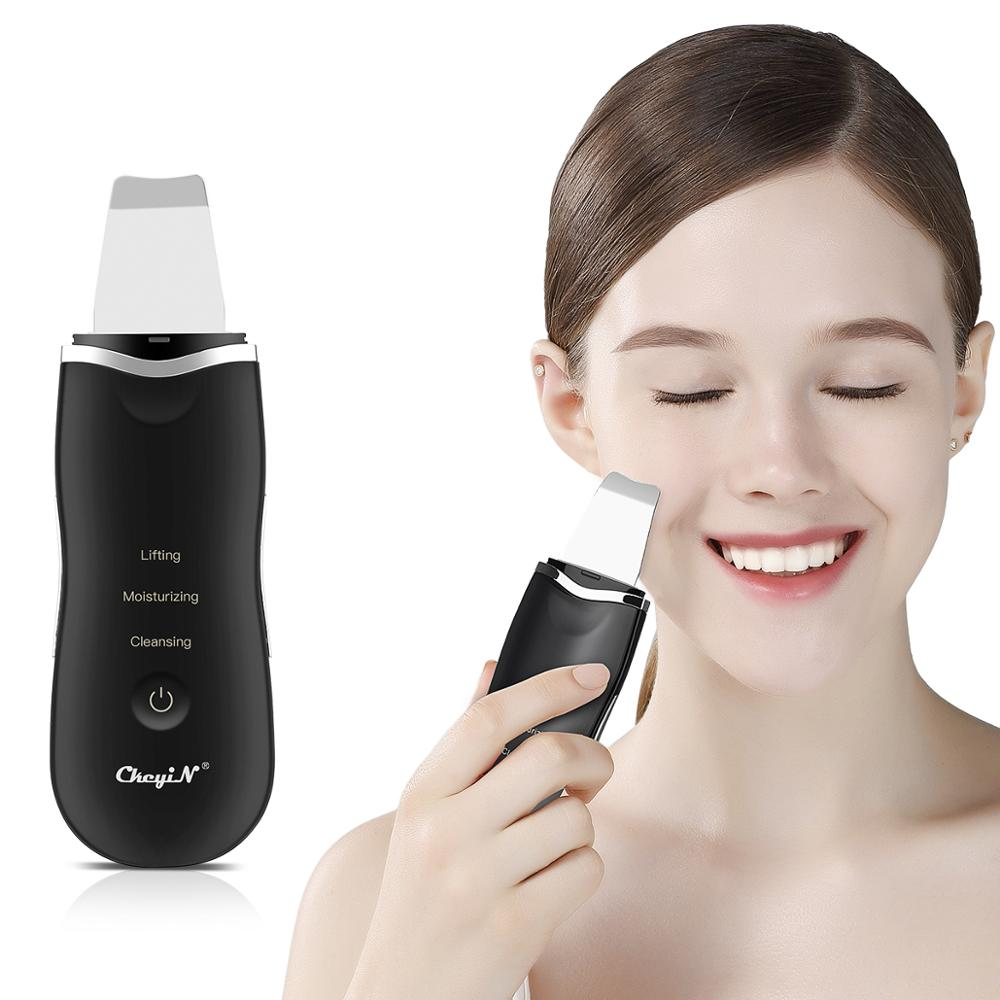 Image 3 - Ultrasonic Ion Deep Cleaning Skin Scrubber Peeling Shovel Facial Pore Cleaner Blackhead Remover Face Lifting USB Rechargeable 53Face Skin Care Machine   -