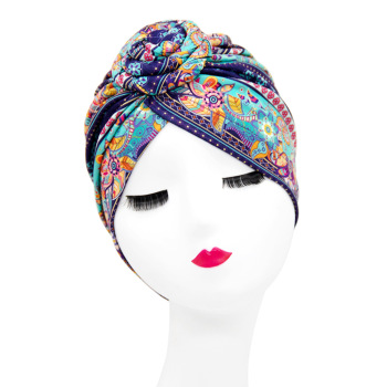 Indian arab wrap women head scarf turban caps trendy printed hijab bonnet Bohemian ethnic inner hijabs for cap muslim headdress
