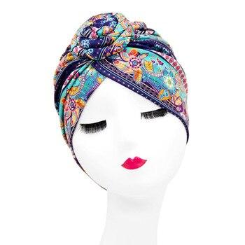 Indian Arab Wrap Women Head Scarf Turban Caps Trendy Printed Hijab Bonnet Bohemian Ethnic Inner Hijabs For Cap Muslim Headdress