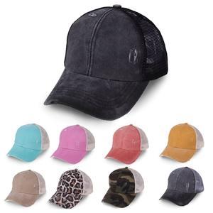 Ponytail Hat Sunshade Baseball-Cap Criss Cotton Women for Headwear Sports-Caps Adjustable