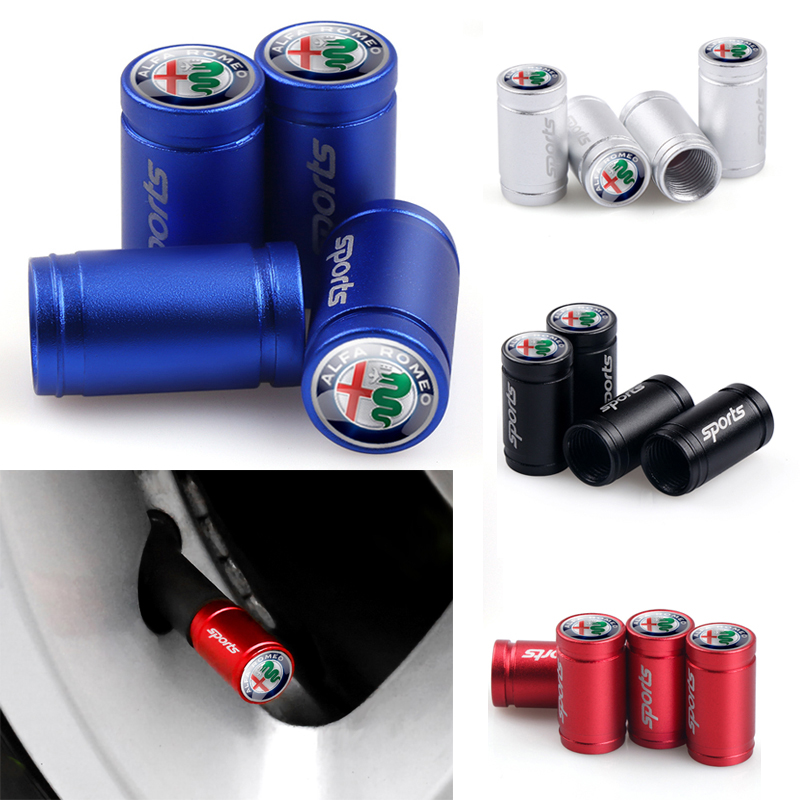 4PCS For Alfa Romeo 159 147 156 166 Giulietta Giulia Mito GT Spider Brera Wheel SPORT Decoration Tire Valve Stem Caps