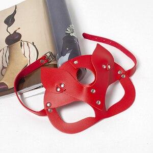 Image 2 - Женская сексуальная искусственная кожа с заклепками верхняя полумаска для лица Стразы кошачьи заячьи ушки косплей для взрослых игра маскарадный мяч карнавальные маски