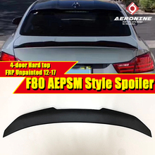 F80 M3 Spoiler FRP Unpainted Tail Wing For BMW 3-Series 325i 328i 330i 4-Door Hard Top PSM Style Black 2012-2017