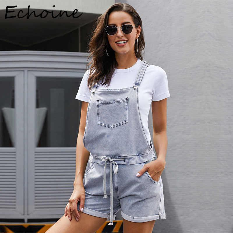 Casual Schwarz Kurze Jeans Overall-spielanzug Frauen Overall Overalls Frauen Kleidung Body Denim Femme Mit Tasche