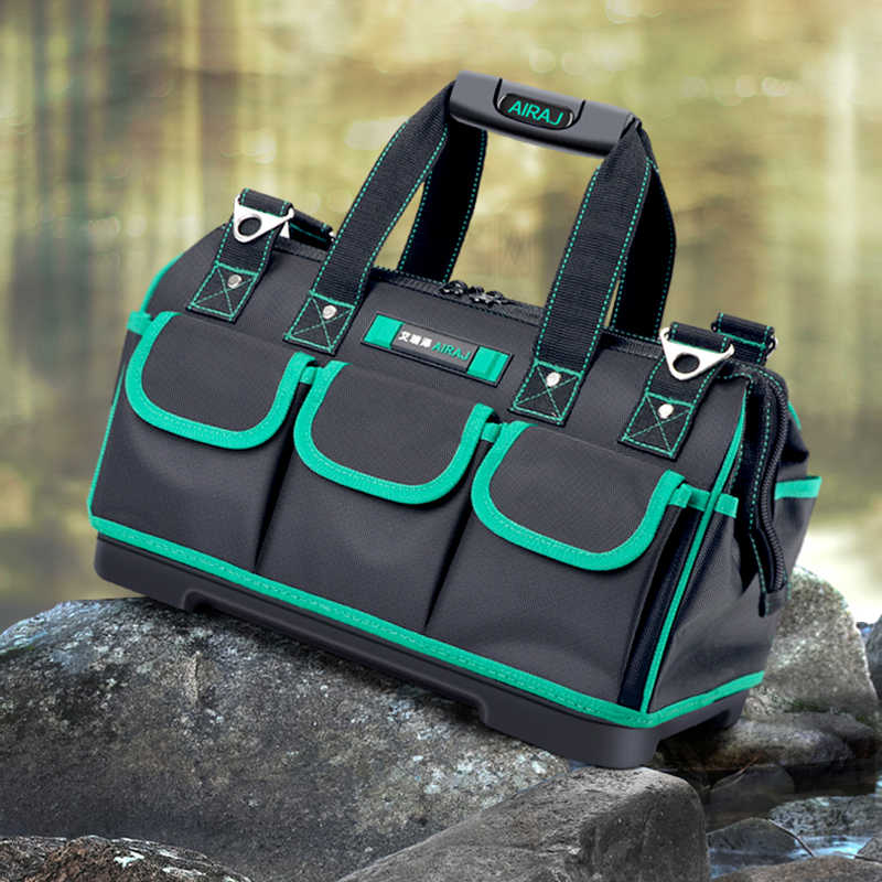 AIRAJ yükseltme alet çantası su geçirmez ve Wearresistant Anti-fall kauçuk alt takım saklama çantası sert çevre için takim tabani