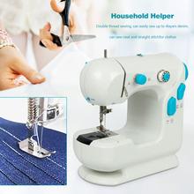 VKTECH Mini elektryczna maszyna do szycia domowego biurko podwójne nici automatyczne nawijanie narzędzia dziewiarskie 2020 tanie tanio Gospodarstw domowych maszyn do szycia Pokrywa ściegu Płaskie łóżko 870g 220x210x170mm Sewing Chodzenie pieszo White + blue