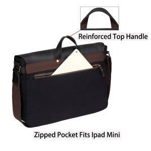 Image 5 - VASCHY Cowhide Leather Messenger Bag for Men Casual Laptop Briefcase Water Resistant Canvas Business Handbag Mens Travel Bag