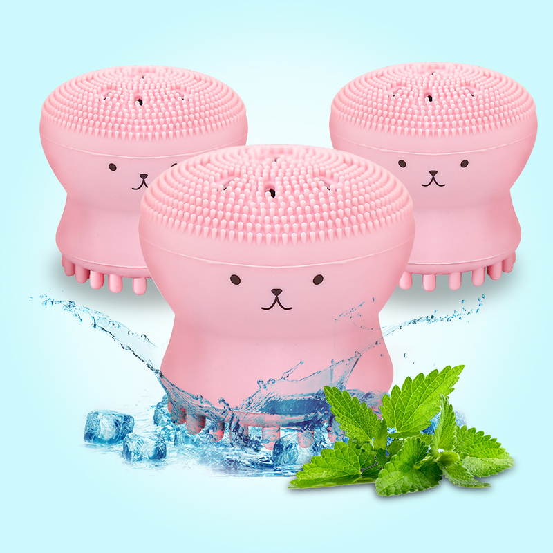 Mini Silicone Face Cleansing Brush Cute Octopus Shape Facial Cleaning Brush Deep Pores Cleaner Exfoliator Face Skin Care Tool