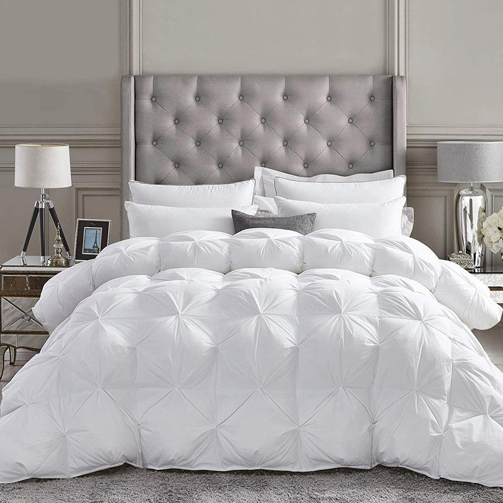 4D Solid Soft Luxury Goose Down Duvet Core Washable Exquisite Pleat Thick Winter Bedding Warm Feather Double Quilt Core Blanket