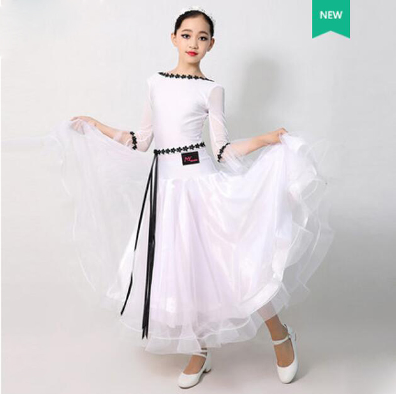Standard Ballroom Dance Dresses Children White Long Sleeve Waltz Competition Dancing Skirt Girl's Classical Dance Dress