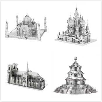 This 3d model depicts Rome's Trevi Fountain, temple of heaven, Taj Mahal and Notre Dame. This model is unpainted,