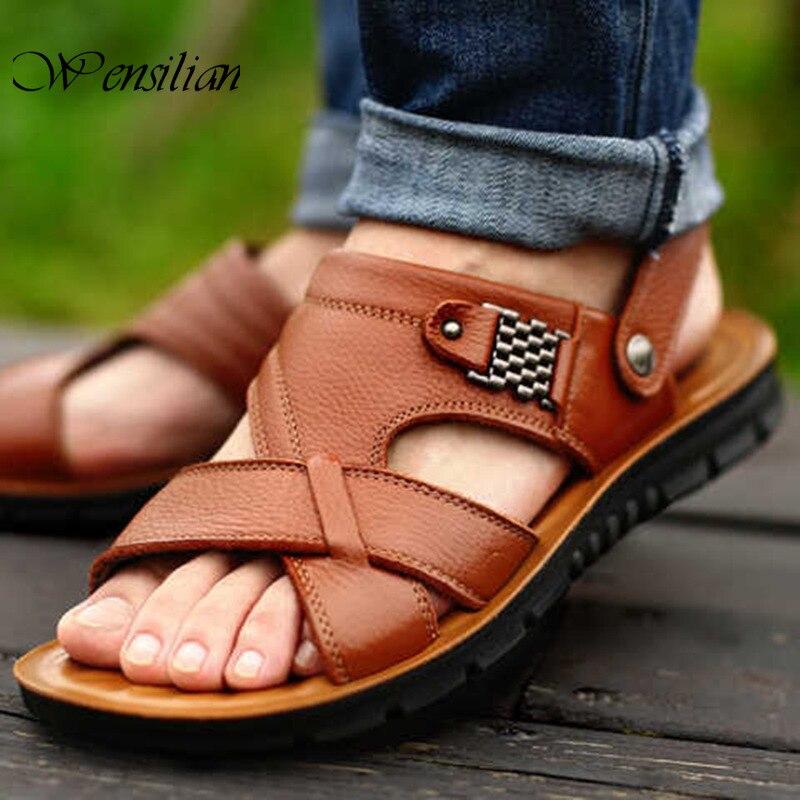 Genuine Leather Sandals Men Shoes Summer Beach Shoes Roman Flat Sandals Leather Shoe Outdoor Slippers Footwear Zapatos De Hombre