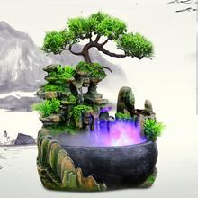 Creative Indoor Resin Rockery Waterfall Spray Feng Shui Water Fountain Statue Home Garden Crafts Gift EU