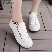 TEMOFON casual Canvas shoes women Comfortable white black cl
