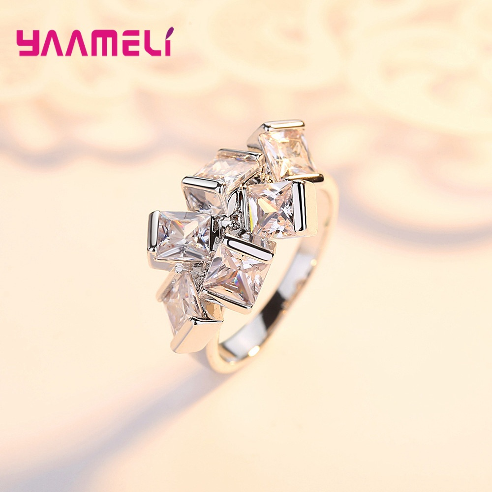 Clear Cubic Zircon Leaf Band Ring For Women Men Lovers 925 Sterling Silver Statement Square Cube Club Bar Jewellery Ornament