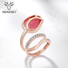 Кольца Viennois цвета розового золота с опалом тюльпаном для женщин, стразы, Размер 7, 8, 9, кольца для женщин, кольца для вечеринок, ювелирные изделия