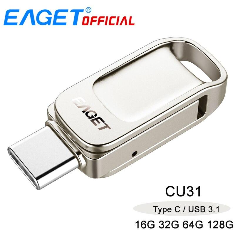 EAGET CU31 32GB 64GB 128GB Metal USB 3 0 Type-C Flash Drive Memory Storage  Stick OTG Type C Pen Drive Mini U Disk For PC
